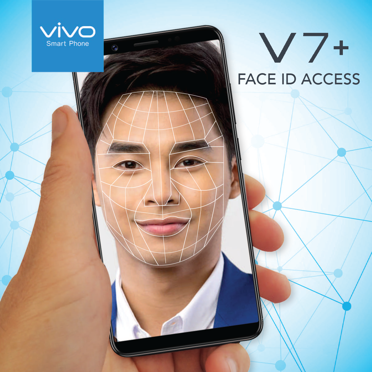 Vivo welcomes you to the future with the V7+ high technology Face ID Access feature