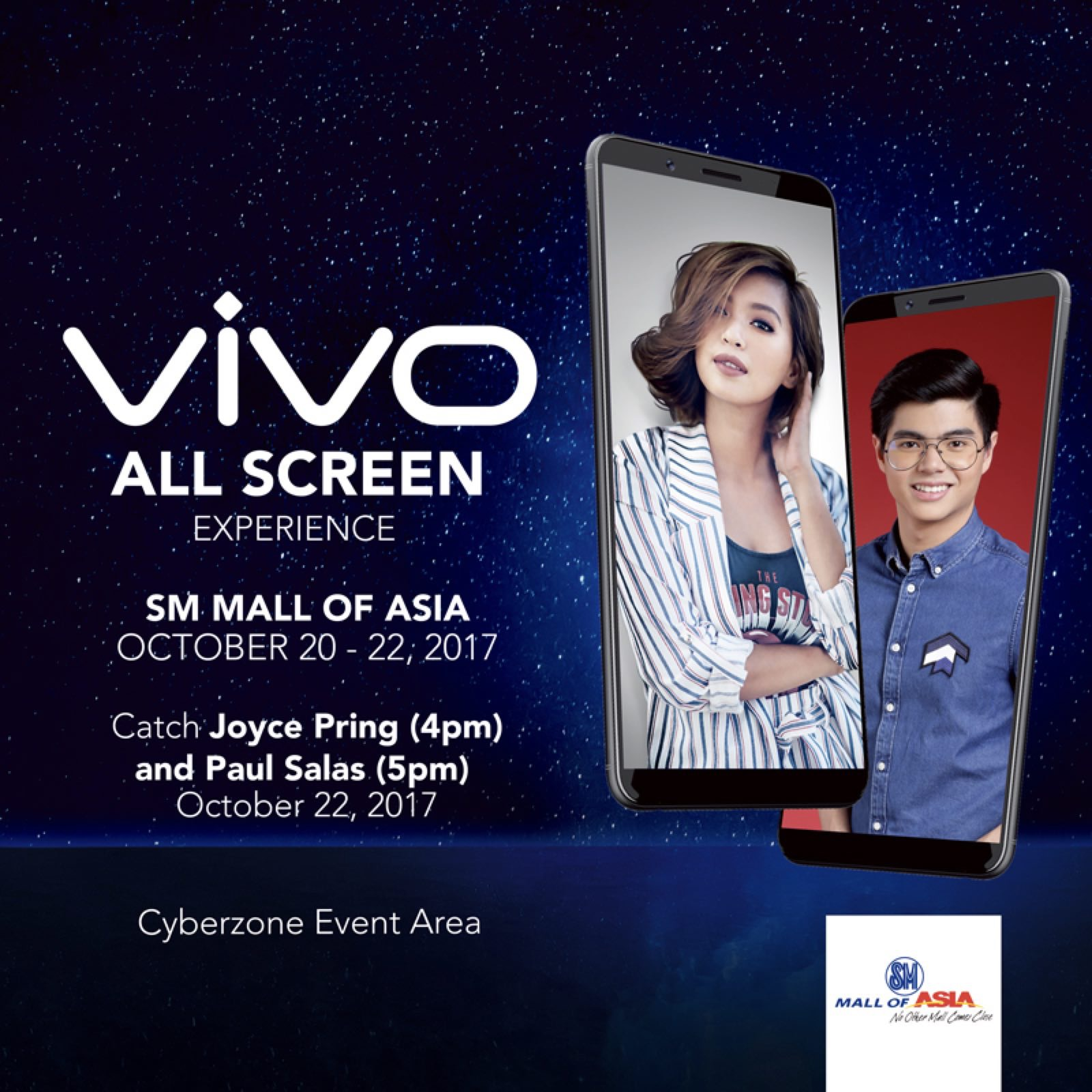 Joyce Pring and Paul Salas to grace the Vivo V7+ All Screen Experience SM Mall Tour at the Mall of Asia on October 20 to 22