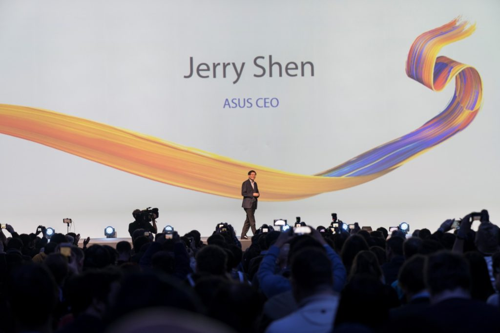 ASUS CEO, Jerry Shen, opens the Back to 5: ZenFone 5 Unveil at MWC 2018 in Barcelona.