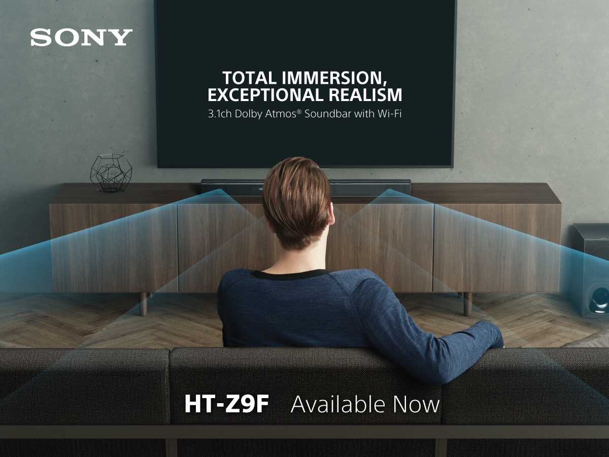 World's First 3.1ch Dolby Atmos® Soundbar  HT-Z9F and Sony's most affordable 2.1ch Dolby Atmos Soundbar HT-X9000F with Virtual Three-Dimensional Surround Sound Powered by  Sony's Vertical Surround Engine
