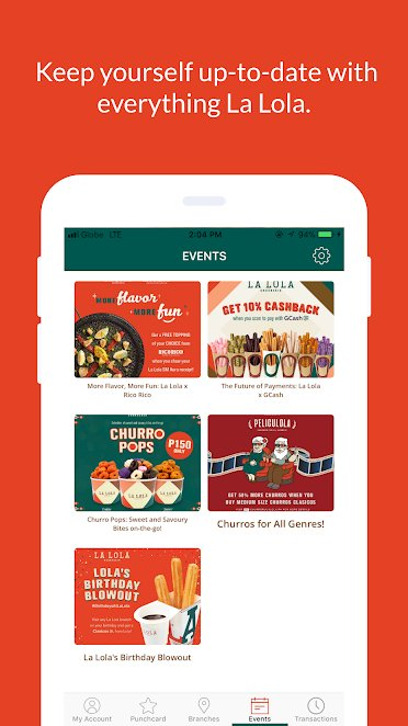 Churreria La Lola gives happiness RUSH- loyalty app